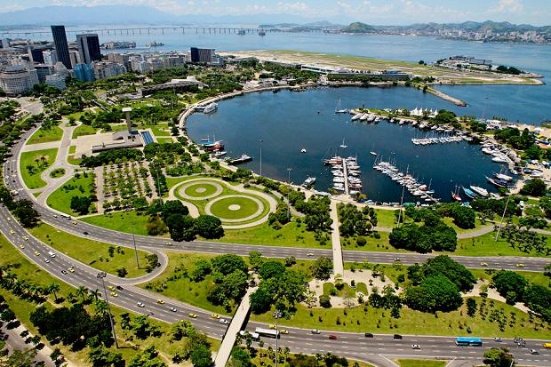 Imagem aérea do Aterro do Flamengo, no Rio de janeiro