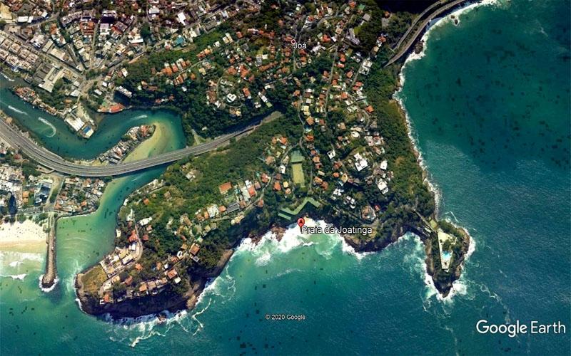 Localização da Praia da Joatinga